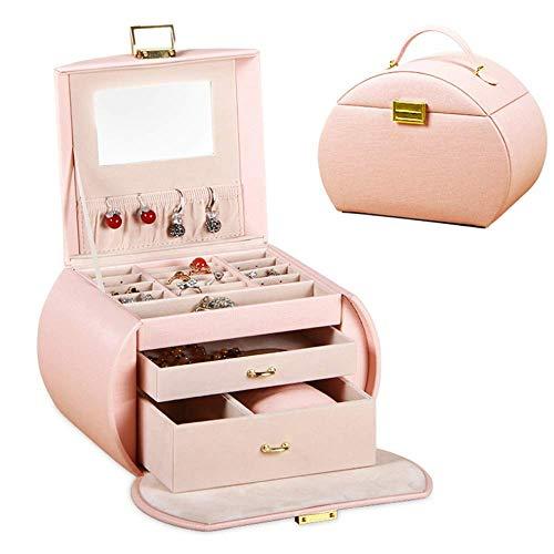 GPWDSN Jewelry Box Jewelry Box Organizer Showcase Lock Locker Fashion Exquisite Leather Jewelry Box Handmade Travel Jewelry Box age Box Rack Jewelry age Box Accessories (Pink)