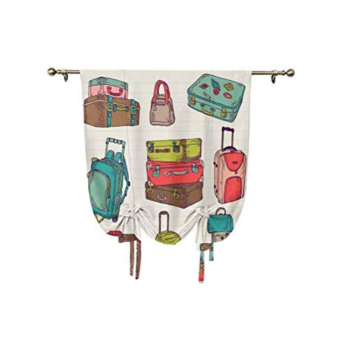 Doodle Tie Up Shades Panels,Colorful Suitcases Holiday Inspired Design Travelling Abroad Vintage Style Artwork Decorative Thermal Insulated Balloon Roman Shades,31x55 Inch,for bathroom window Multicol