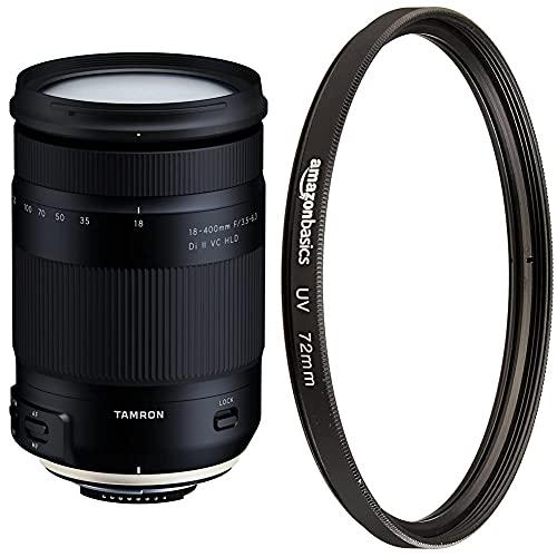 Tamron T80192 - Objetivo para cámara Nikon (18-400mm, Apertura F/3.5-6.3 Di II VC HLD B028) + Amazon Basics - Filtro de protección UV - 72mm