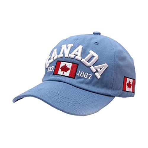 Baifenzhi Baumwolle Weich Atmungsaktiv Baseball Cap Kanada Ahorn Bestickt Baseball Cap Kleidung Stil Wild Dekoration Hut Sommer Outdoor Sport Sonnenhut, blau, 55-57CM