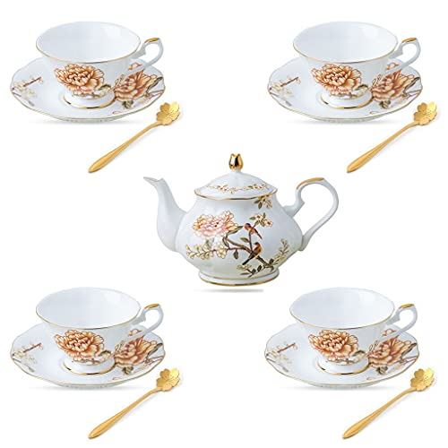 Latte Art Cup English Teacup and Saucer Afternoon Tea Sets Ceramic Drinking Cup Coffee Pot Bone China Coffee Cup with Spoon European Cup for Home Living Room Decoration Gifts Coffeezone
