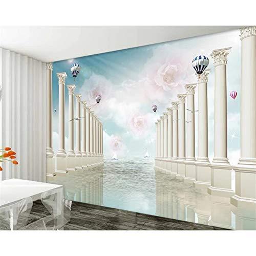 Papel tapiz mural personalizado europeo 3D estéreo rosa pilar romano globo de aire caliente sala de estar TV fondo papel tapiz 3d