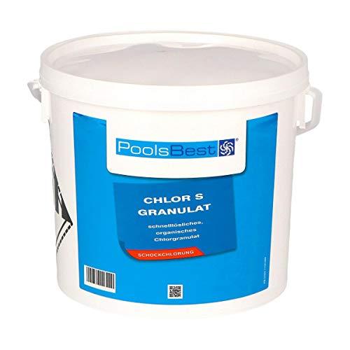 POOLSBEST® 5 kg Chlorgranulat S schnelllöslich 56{8c11af98ad67deedf3499c4fe11423dbf9458cc63d6a45a1bba4a4b6698ffd45} Aktivchlor wirksames Granulat - Chlor wirkt schnell gegen Bakterien, Pilze und Viren - Inklusive Messbecher