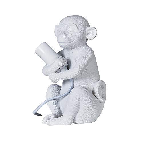 MiniSun – Moderna Lámpara de Mesa Bebé Mono - Diseño Original en Resina Blanca - Lámparas de Mesita - Iluminación Interior