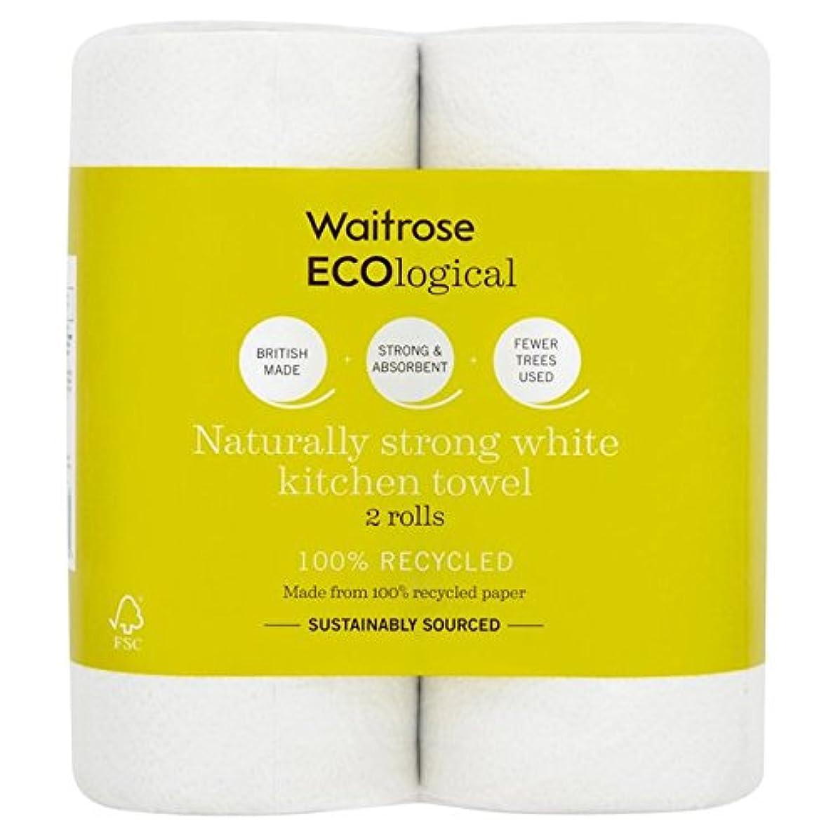 傾向がある牛怠感ECOlogical White Kitchen Towels Recycled Waitrose 2 per pack - パックごとのウェイトローズ2をリサイクル生態白いキッチンタオル [並行輸入品]