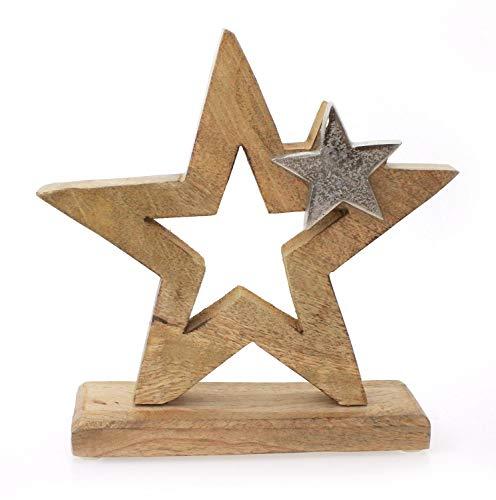 Deko Figur Stern Sternaufsteller 21 cm, Mangoholz Holz massiv natur braun Aluminium Metall silber, Winterstern Weihnachtsstern Sternfigur
