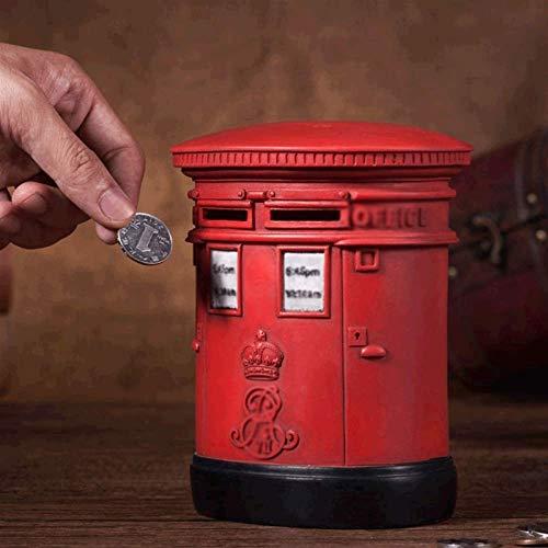 GPWDSN Hucha de buzón, Almacenamiento de Dinero de Monedas Rojo Vintage (B)