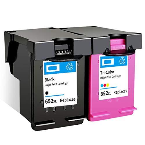 SXCD Cartucho de Tinta 652XL, reemplazo de Alto Rendimiento para HP DeskJet Tinta Advantage 1115 1118 2135 3635 3700 3785 4678 5075 5275 Impresora de Tinta Negra y Tri-co 1 Black 1 Tri-Color