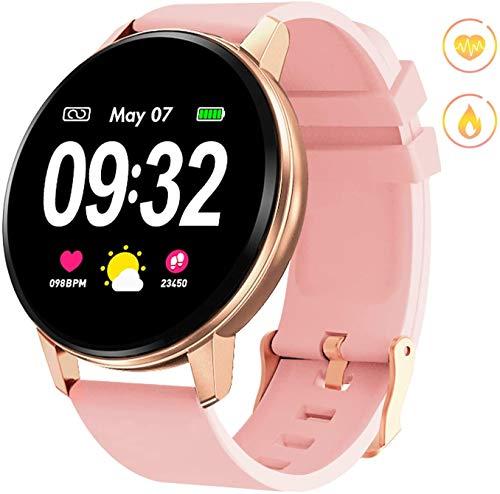 Smart Watch, Bluetooth Fitness Activity Tracker met hartslagmeter, draagbare bloeddrukmeter voor dames, heren, kinderen, waterdichte stappenteller, compatibel met Andriod iOS,Pink