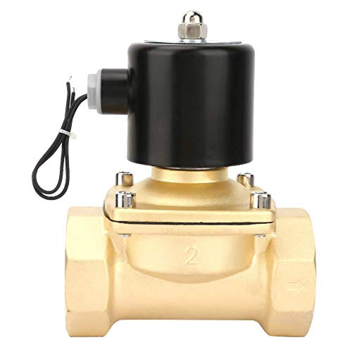 JUNYYANG Válvula solenoide eléctrica, controlador de interruptor de válvula magnético de latón DN50 para agua de gas de aire de agua de aire de gasolina normalmente control cerrado DC24V