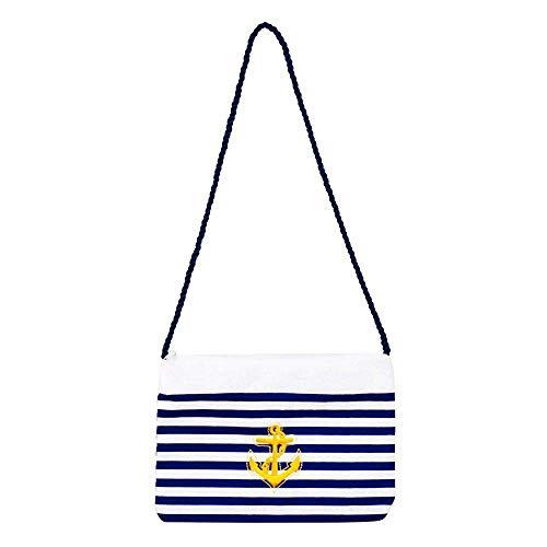 Boland 44360 - Handtasche Navy, Blau-Weiß gestreift, Verzierung goldener Anker, Matrosin-Kostüm