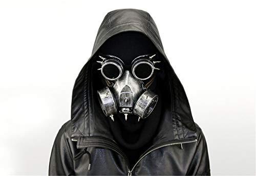Ulalaza Steampunk-Gasmaske / Schutzbrille, Verkleidung, Retro, Gothic, Punk, Zombie, Soldaten, Totenkopf, Maske für Halloween, Cosplay, Requisiten, silber, Einheitsgröße