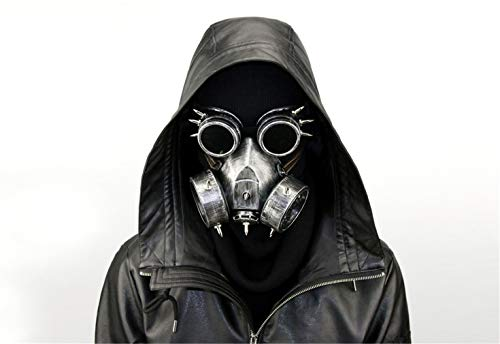 Ulalaza Steampunk Gas Goggles Máscara Retro Gothic Punk Zombie Soldiers Skull Mask para Halloween Cosplay Props
