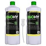 BiOHY Teppichshampoo (2x1l Flasche) + Dosierer | Teppichreiniger ideal zur Entfernung von hartnäckigen Flecken | SPEZIELL FÜR WASCHSAUGER ENTWICKELT