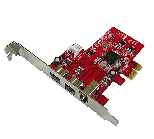 PCIe Karte Controller Karte FireWire 800 und 400 IEEE 1394a und IEEE 1394b über PCIe 1x, 2+1 Ausgänge, Chipsatz TI XI02213BZAY