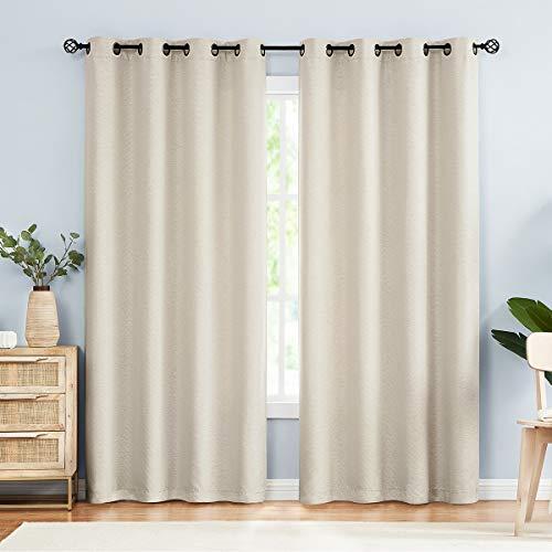 "Treatmentex Linen Curtains for Living Room 84"" Beige Room Darkening Chevron Curtain Panels Grommet Top 2-Pack"