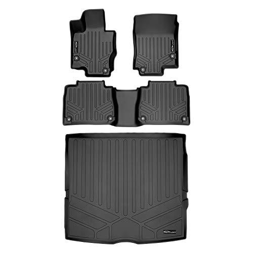 SMARTLINER Custom Fit Floor Mats 2 Rows and Cargo Liner Behind 2nd Row Set Black 2020 Mercedes-Benz GLE-Class 7/8 Passenger