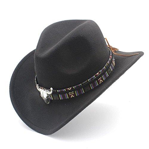 IWGR Frauen Männer Western Cowboy Hut Dame Jazz Cowgirl Sombrero Caps Mode Hut (Farbe : Schwarz, Größe : 56-58cm)