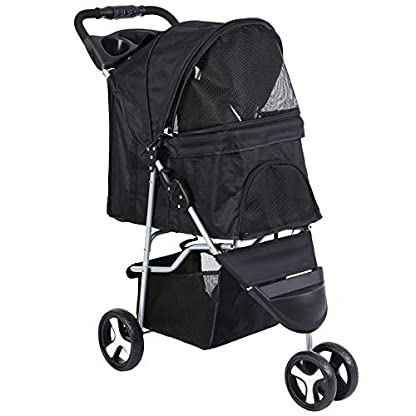 Yonntech Pet Travel Stroller Foldable Cat Dog Pushchair Trolley Puppy Jogger Buggy Dog Carrier Maximum Weight 15Kg with Cup Holders Storage Basket Three Wheels (Black) 1