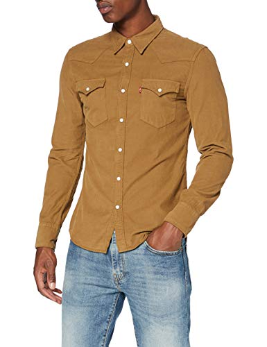 Levi's Barstow Western Slim Camisa, Garment Dye Cord Toasted Coconut, M para Hombre