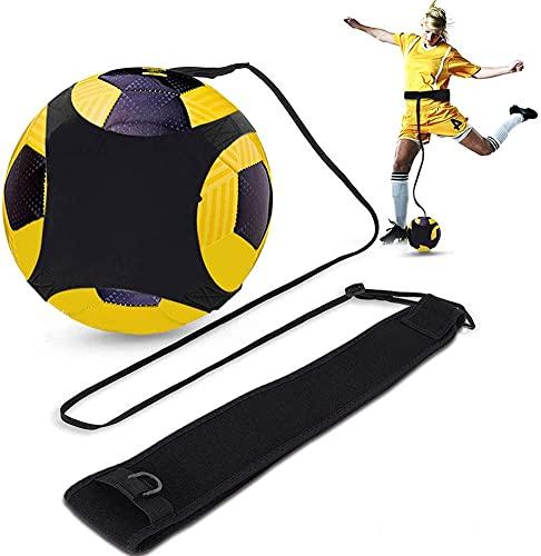 Kit Allenamento Calcio col Pallone, Trainer da Calcio per Bambini e Adulti, Individuale Cintura Regolabile Attrezzatura, Aiuto Migliorare Controllo di Palla Mazione Pratica (Non Contiene Palline)