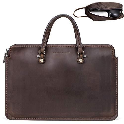 Lilingyu Leder Notebook-Laptop-Tasche Glatter Griff Premium-PU-Leder-Geschäft Work Travel Schultertasche Mit Einer Kleinen Handtasche Für MacBook Pro 15