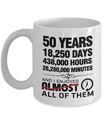 50 años de aniversario de la taza de café para ella, él - 50 aniversario de bodas de matrimonio divertido Regalo de San Valentín para la esposa del esposo 50 años de celebración del matrimonio Regalo