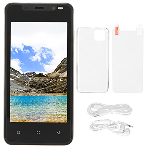 Longzhuo Teléfono móvil 4.66 Pulgadas HD + Pantalla Pantalla MTK6572 CPU de Doble núcleo Smartphone 512MB + 4GB para Android 4.4.2 Tarjetas duales Doble Modo de Espera(Oro)