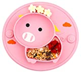 Baby Divided Plate Silicone- Portable Non Slip Child Feeding Plate with Suction Cup for Children Babies and Kids BPA Free Baby Dinner Plate Microwave Dishwasher Safe …