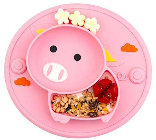 Baby Teller Schüssel Mini Silikon Tischset für Baby Kleinkinder und Kinder Tragbar Teller Baby Rutschfest Babyteller Tischset Abwaschbar für Spülmaschine, Mikrowelle
