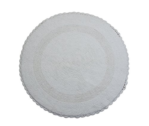 Saffron Fabs SPA Bath Rug 100% Soft Cotton 36 Inch Round, Reversible-Different Pattern On Both Sides, Solid White Color, Hand Knitted Crochet Lace Border, Hand Tufted, 200 GSF Weight, Machine Washable