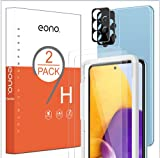 Amazon Brand-Eono [2+2 Pack] Protector de Pantalla Compatible con Samsung Galaxy A52 +Protector de Lente de cámara,Cristal Templado HD, Antiarañazos, Antihuellas, Sin Burbujas, 9H Dureza ,0.33 mm