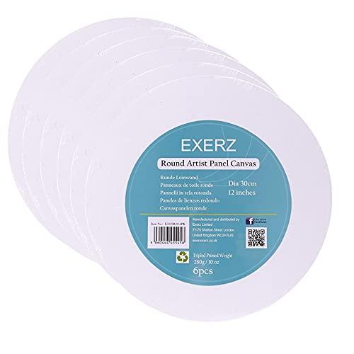 Exerz Paneles de Lienzos 30cm diámetro Redondo 6 Piezas / 280GSM / 100% Algodón/Color Blanco/Triple Preparado/Libre de Acido/Hebra Media / 0,3 cm de Espesor (30cm diámetro - 6 Piezas)