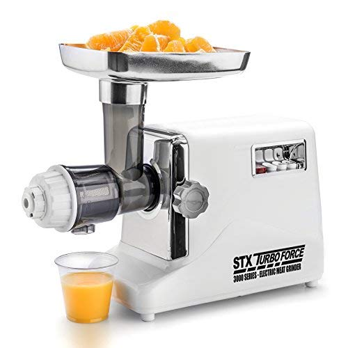 STX International STX-3000-JTF-PD Turboforce 3 Speed Electric Meat Grinder & Sausage Stuffer - Heavy Duty 1200 Watts - Size #12-4 Grinding Plates, 3 Stainless Blades, Sausage Stuffer & Kubbe Attachment (Regular Edition Meat Grinder - Juicer & Foot Pedal)