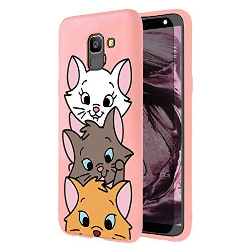 ZhuoFan Cover Samsung Galaxy J6 Plus, Custodia Cover Silicone Rosa con Disegni Ultra Slim TPU Morbido Antiurto 3D Cartoon Bumper Case Protettiva per Samsung Galaxy J6 Plus, 3 Cat