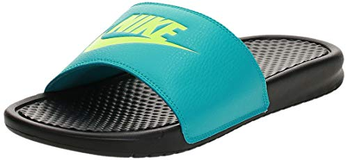 Nike Benassi Just Do It, Sandalia para Hombre, Black Ghost Green Oracle Aqua, 44 EU