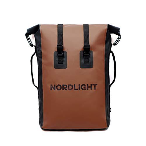 Nordlight Drybag 35 L Roll Top - (Braun) mit gepolstertem Tragegurt, Dry Bag Rucksack für Wassersport, Fahrrad Rucksack, Kurierrucksack, Trekking, Angeln