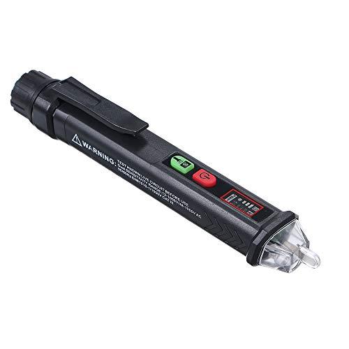 KKmoon Spannungsprüfer mit Bildschrim berührungsloser Wechselspannungsprüfer Durchgangsprüfer Einstellbare Empfindlichkeit mit LED Taschenlampe mit Ton- und Lichtalarm 12V-1000V/48V-1000V