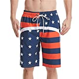 Bañadores para Hombre Verano Pantalones Cortos Deportivos Pantalones De Cinco Puntos Europa Y Estados Unidos Impresión Digital 3D Rayas De Bandera Surf Vacaciones Ocio Correr-H_M