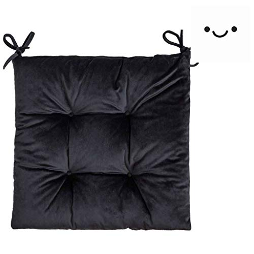 Indoor Outdoor Chair Cushion for Dining Chairs 16X16In with Tie, Solid color Wicker Chair Cushion, Velvet Thickened Chair Cushion Seat Pad for Home Garden Patio Chairs With Strap- set of 2-Black