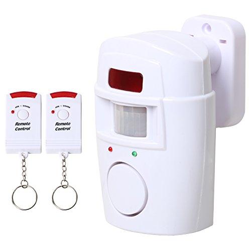 TRIXES Allarme con Sensore di Movimento Alimentato a Batteria, Compresi Telecomandi, per Giardino, Capanno e Caravan
