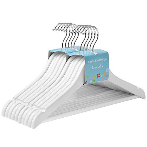SONGMICS Kinderkleiderbügel aus Massivholz, 10 Stück, Holzbügel für Kinder mit rutschfestem Hosensteg und Einkerbungen, um 360° drehbarer Haken, 35 x 1,2 x 20 cm, weiß CRW006W02