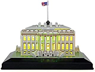 CubicFun 3D Puzzles U.S. LED Architecture Building Model Kits Toys for Adults, White House Lighting Up in Night