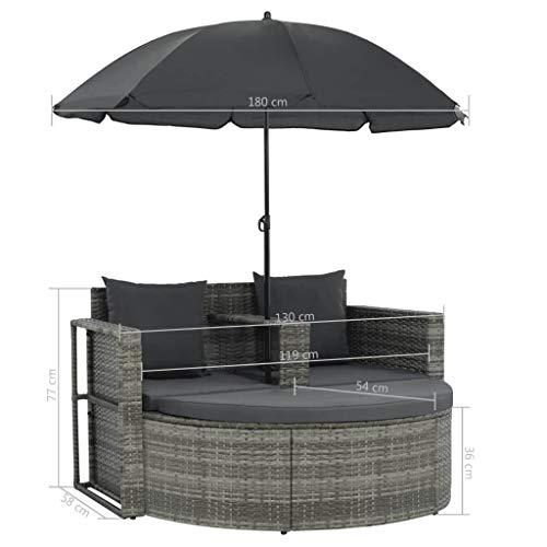 vidaXL Gartenlounge mit Sonnenschirm Poly Rattan Lounge Garnitur Gartenmöbel - 7