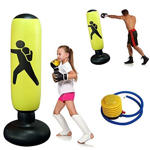 Boxsack Kinder Standboxsäcke 160cm, Aufblasbare Boxsäule Tumbler für Kinder Erwachsene Stressabbauer zum Üben von Karate Taekwondo Luftpumpe Reparaturaufkleber Enthalten