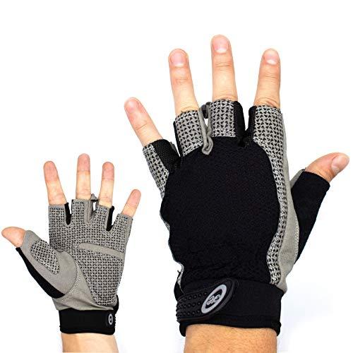Trainingshandschuhe für Herren und Damen – atmungsaktive und leichte Fitness Handschuhe mit extra Grip Silikon Pads für Bodybuilding und Krafttraining – Gym Gloves for Women & Men (schwarz, L)