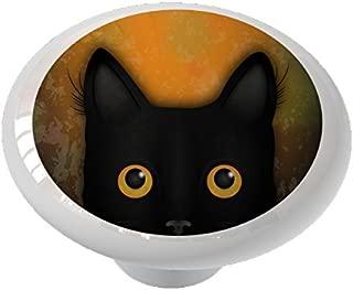 Peek A Boo Black Cat Ceramic Drawer Knob