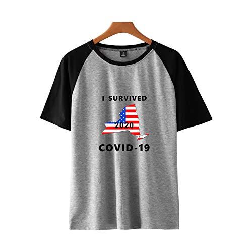 W&TT I Survived Coro-Virus 2020 T-Shirt CO-VID-19, Novedad Camiseta de Manga Corta para Hombres y Mujeres Conmemoración, Llorar y bendecir,Gray 2,XXXL