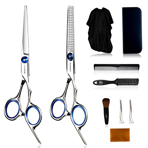 Hair Cutting Scissors Set, Professional Hair Scissors, Thinning Shears Stainless Steel Hair Cutting Kit 10 Pcs with Haircut Accessories for Barber Salon Home Women Men Adults