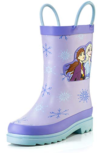 Disney Frozen 2 Girls Anna and Elsa Purple Rubber Easy-On Rain Boots - Size 7 Toddler